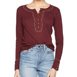 Lucky Brand Cotton Embroidered Henley Top NWT
